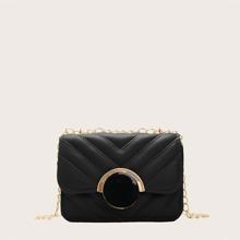 Girls Stitch Detail Flap Chain Crossbody Bag