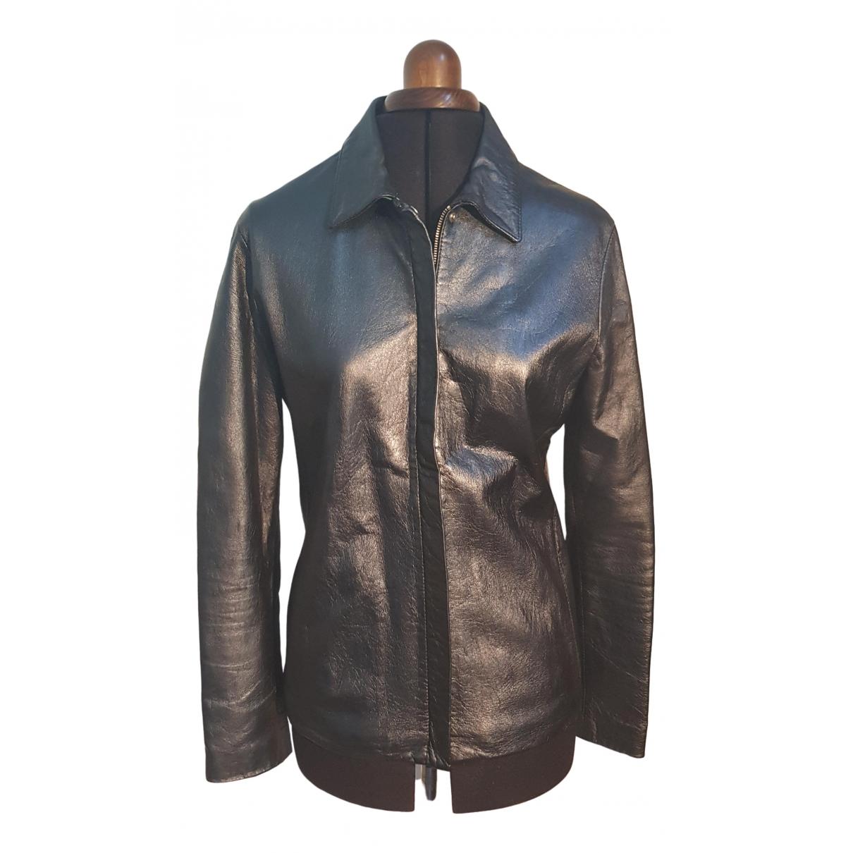 Versace Jean - Blouson   pour femme en cuir - noir