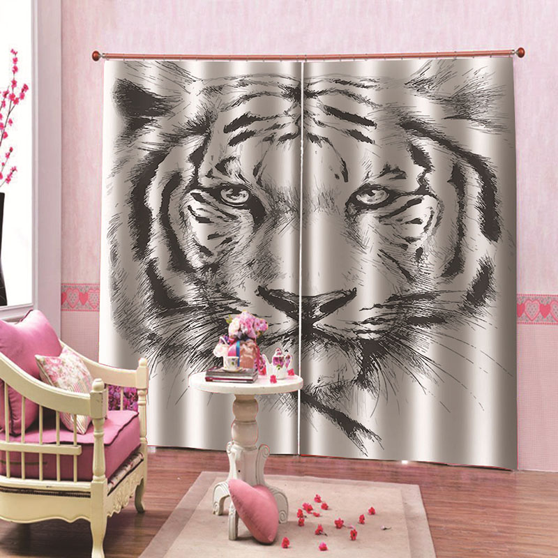 3D Blackout Decoration 2 Panels Curtain Drapes for Living Room with Tiger Head Pattern No Pilling No Fading No off-lining