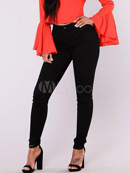 Milanoo Black Skinny Jeans High Waisted Women Button Denim Pants