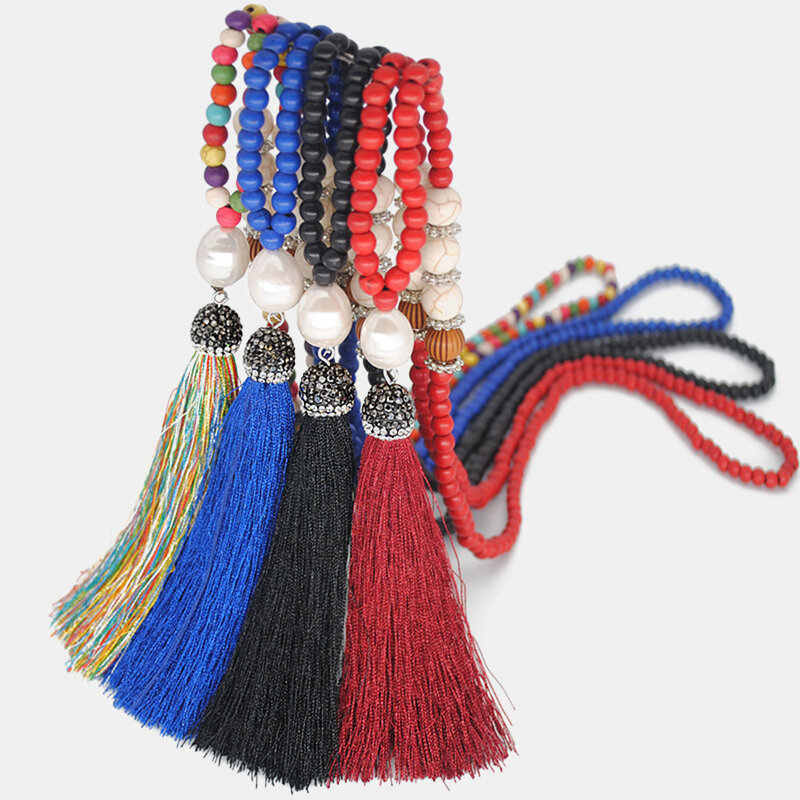 10 Colors Bohemian Synthetic Pearl Crystal Beaded Necklace Metal Tassel Pendant Necklace