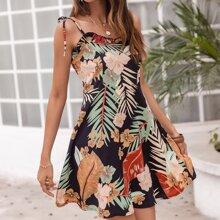 Keyhole Neck Tropical Dress