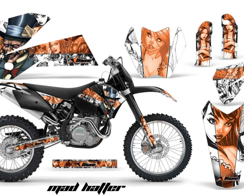AMR Racing Dirt Bike Decal Graphic Kit Wrap For KTM EXC/SX/MXC?/SMR/XCF-W 2005-2007áHATTER ORANGE WHITE