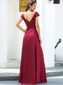 V-back Mesh Insert Satin Formal Dress
