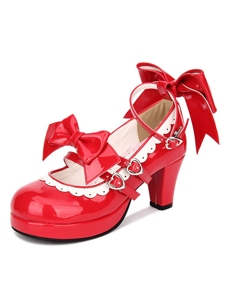 Milanoo Sweet Lolita Shoes Red Bow Strappy Patent PU Red Lolita Pumps