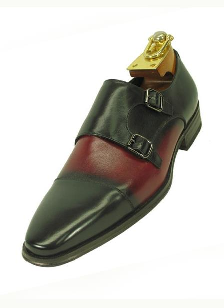 Men's Black / Burgundy Double Buckle Style Fashionable Leather Shoes