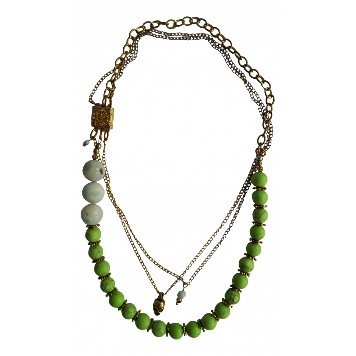 Non Signé / Unsigned Chaînes Green Metal necklace for Women \N