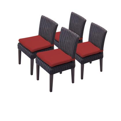 TKC094b-ADC-2x-C-TERRACOTTA 4 Venice Armless Dining Chairs with 2 Covers: Wheat and