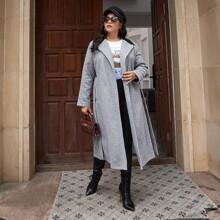 Mantel mit Kontrast, PU Leder Einsatz und Guertel