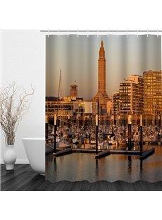 City Terminal Scenery 3D Printed Bathroom Waterproof Shower Curtain