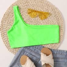 Neon Green One Shoulder Bikini Top