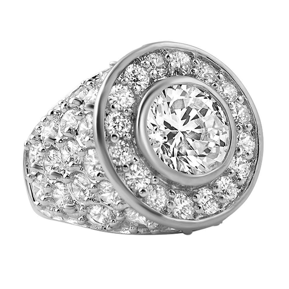 .925 Sterling Centerstone CZ Iced Out Ring