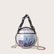 Newspaper Graphic Ball Satchel Bag