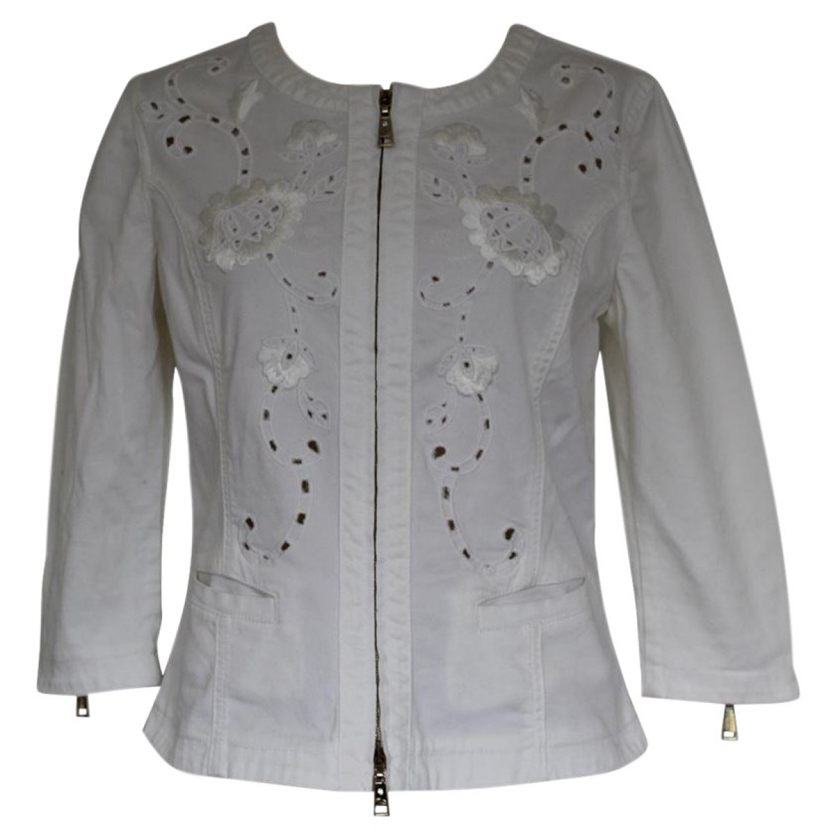 Non Signé / Unsigned \N White Cotton jacket for Women 44 IT