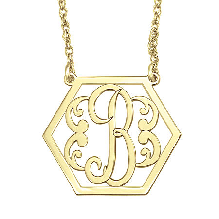 Personalized Hexagon Initial Necklace, One Size , Yellow