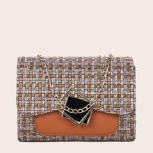 Color Block Chain Shoulder Bag