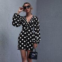 Kleid mit Knopfen vorn und Punkten Muster