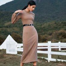 Strick figurbetontes Kleid mit Stehkragen ohne Guertel