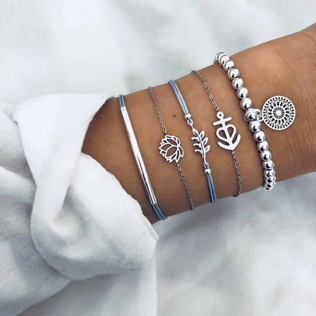 Trendy Hollow Lotus Leaf Chain Bracelet Geometric Handmade Silver Pendant Bead Bracelet Kit