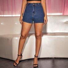 Button Fly Denim Skinny Shorts