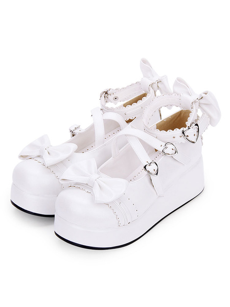 Milanoo Sweet Lolita Shoes Bow Strappy Buckle Platform PU Lolita Footwear