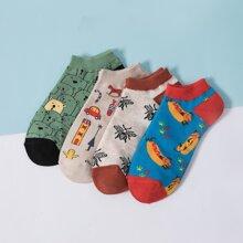 4 Paare Maenner Socken mit Karikatur Grafik