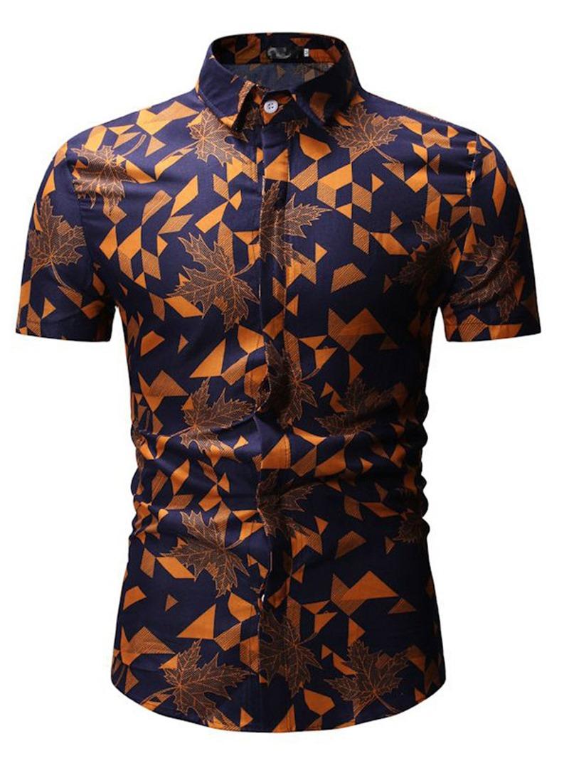 Ericdress Geometric Floral Print Lapel Mens Short Sleeve Shirt