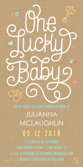 Baby Shower Invitations Flat Matte Photo Paper Cards with Envelopes, 4x8, Card & Stationery -Lucky Baby Lettering