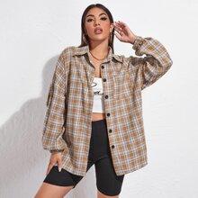 Drop Shoulder Button Front Tartan Oversized Blouse