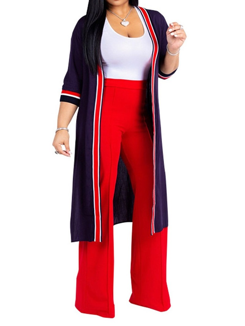 Ericdress Color Block Simple Vest and Trench Coat and Pants Women's Three Piece Set
