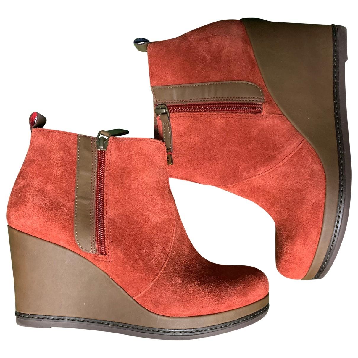 Tommy Hilfiger - Boots   pour femme en suede - marron