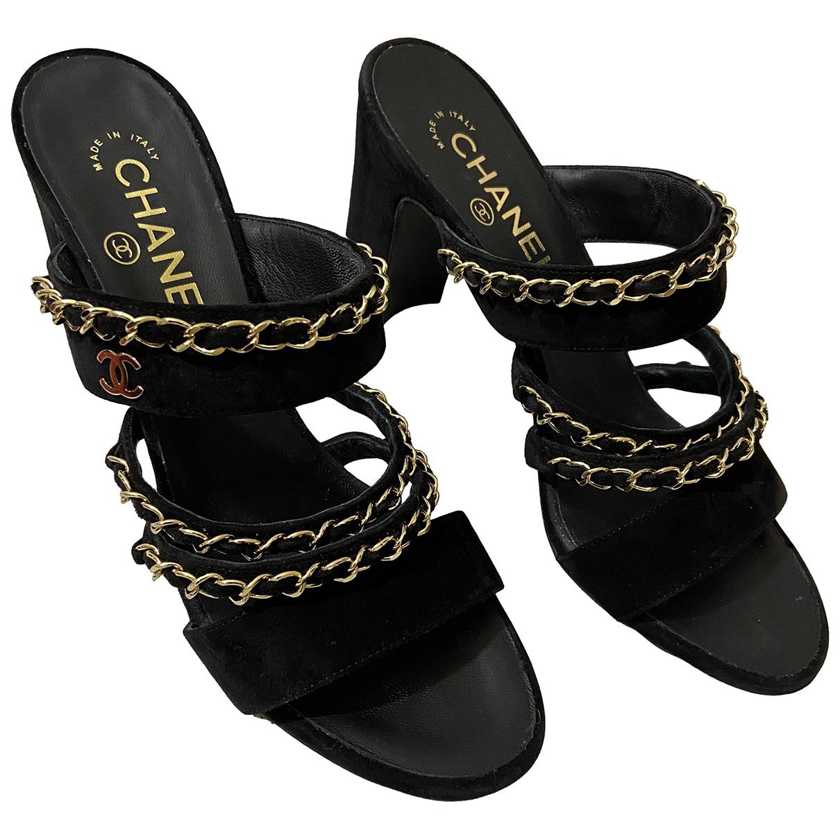 Chanel - Sandales   pour femme en suede - noir