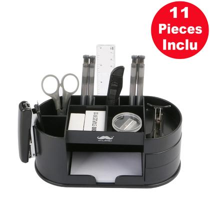 Plastic Desk Organizer, 11 Compartments, Black - Moustache@