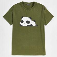 Men Panda Print Top