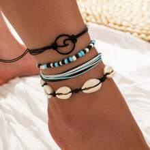 4pcs Shell Braided Anklet