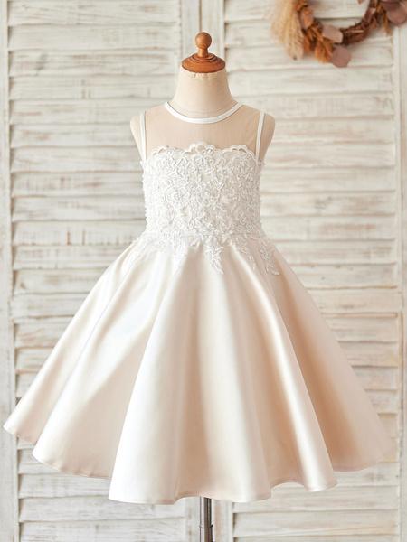 Milanoo Flower Girl Dresses Jewel Neck Lace Sleeveless Knee-Length Princess Silhouette Kids Party Dresses
