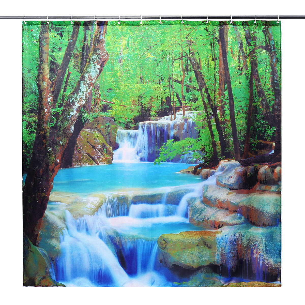 3D Waterfall Nature Scenery Bath Shower Curtain Water Resistant Bathroom Shield