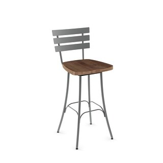 Amisco Stadium Swivel Bar Stool with Distressed Wood Seat (Brown Distressed Wood / Glossy Grey Metal)
