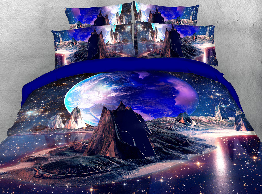 Light Galaxy Mountain 3D 4pcs Animal No-fading Bedding Sets Soft Durable Zipper Duvet Cover with Non-slip Ties