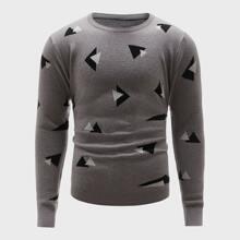 Jersey de cuello redondo con patron geometrico