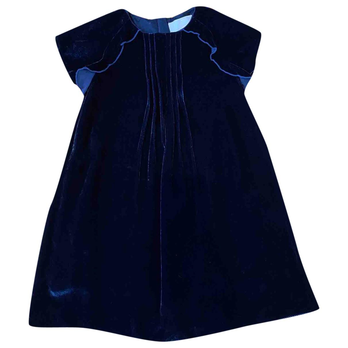 Jacadi - Robe    pour enfant en velours - bleu