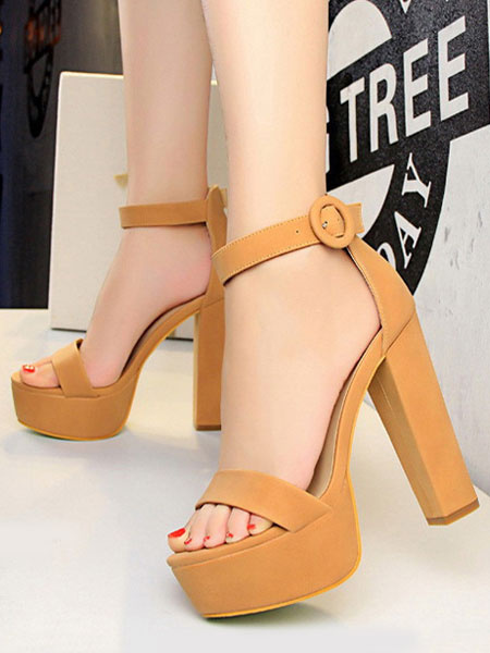Milanoo Platform High Heel Sandals Womens Open Toe Ankle Strap Chunky Heel Sandals