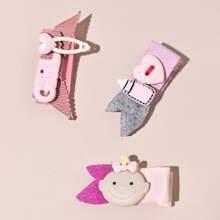 3pcs Toddler Girls Heart Decor Hair Clip