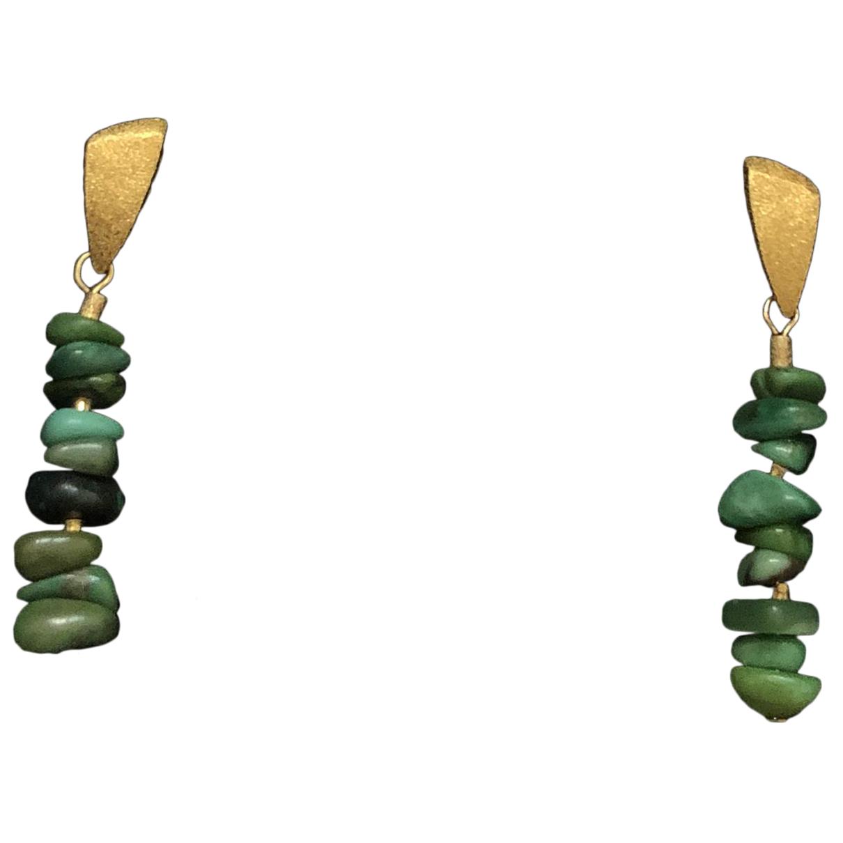 - Boucles doreilles   pour femme en vermeil - vert