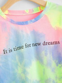 New Dreams Graphic Tie-Dye Cropped Tee