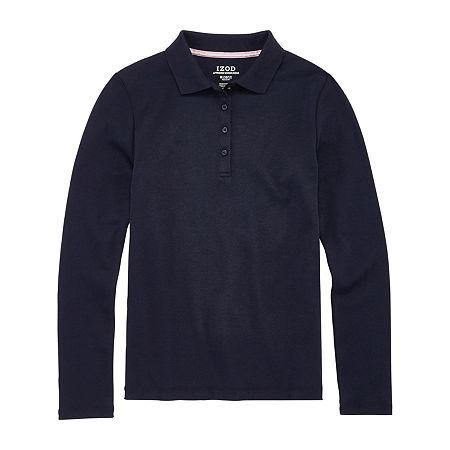 IZOD Little & Big Girls Long Sleeve Polo Shirt, X-large , Blue