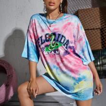 T-Shirt mit Buchstaben & Schlange Grafik und Batik
