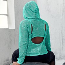 Plus Cut Out Back Hooded Sports Top