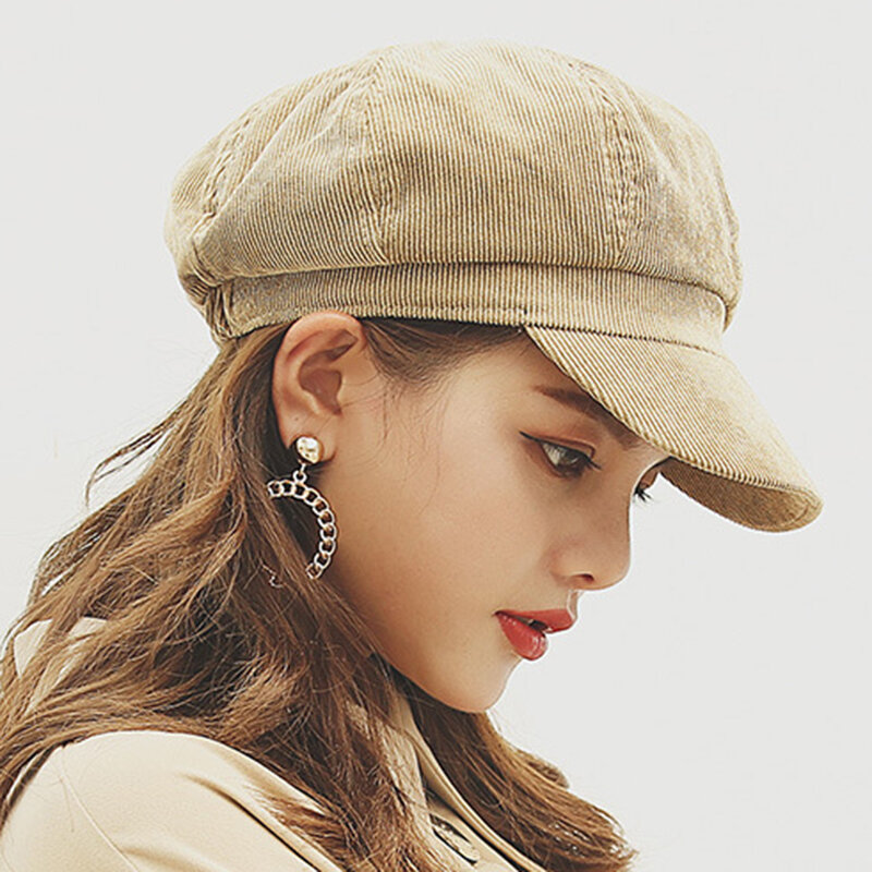 Women Corduroy Octagonal Cap Beret Cap Outdoor Travel Fashion Casual Wild Painter Cap