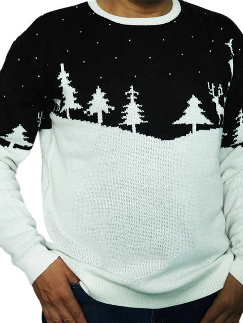 Ericdress Standard Plant Round Neck Loose Mens Casual Sweater
